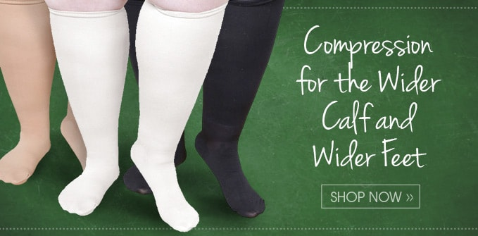 "Extra Wide Moderate Compression Knee Highs, Petite Height (under 5'6"")"
