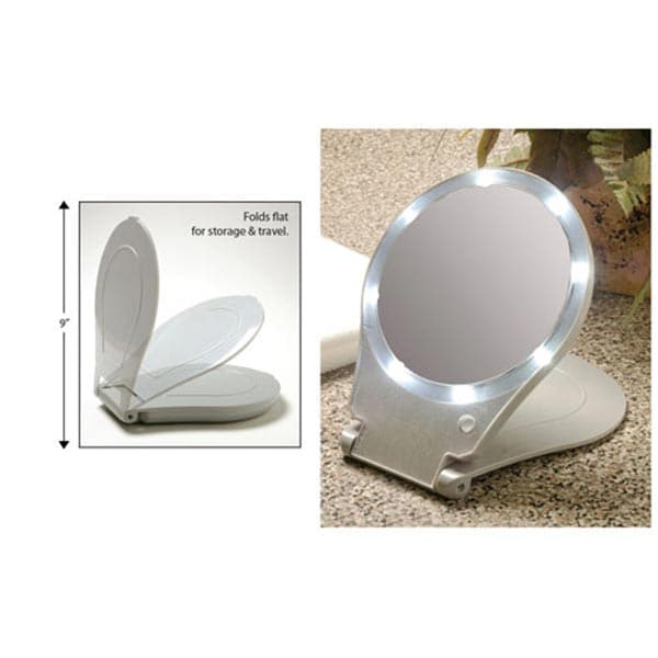 10x magnification folding mirror with light for travel at. Black Bedroom Furniture Sets. Home Design Ideas