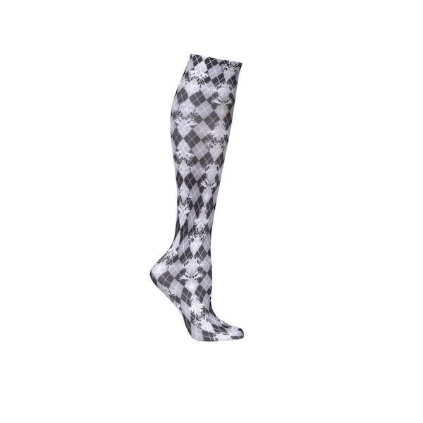 d7b19c820de Wide Calf Printed Moderate Compression Knee Highs - Damask Harlequin ...