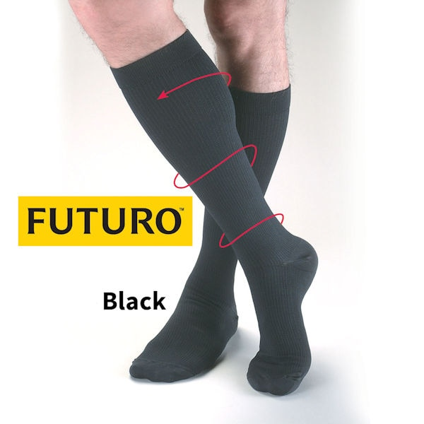 Futuro Moderate Support Mens Dress Trouser Socks With 15-20 MmHg Compression At Support Plus ...