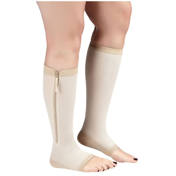 c4530b1a5e Kooltek® Opaque Open Toe Moderate Compression Knee High Compression With  Zipper | Support Plus | FH0522