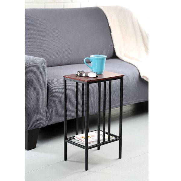 Enjoyable Chair Side Sofa Accent Table Black Iron With Walnut Top Storage Table Dailytribune Chair Design For Home Dailytribuneorg