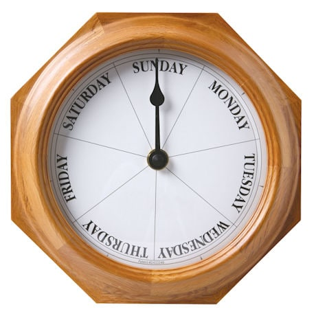 DayClocks Clock in Mahogany or Oak - Keep Track Of Days Not Time