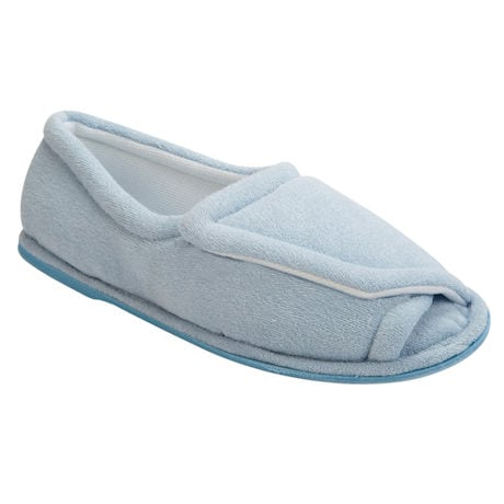 Women's Rubber Sole Terry Cloth Comfort Slippers - Light Blue