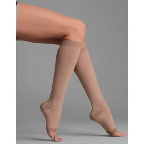 Support Plus® Womens Opaque Open Toe Wide Calf Firm Compression Knee High Stockings