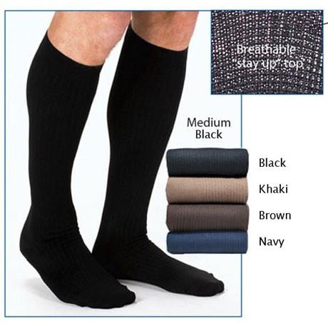 Jobst® Mens Opaque Wide Calf Firm Compression Graduated Compression Dress Socks
