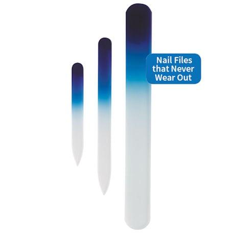 Glass Manicure Pedicure Files Nail Care 3 Piece Set