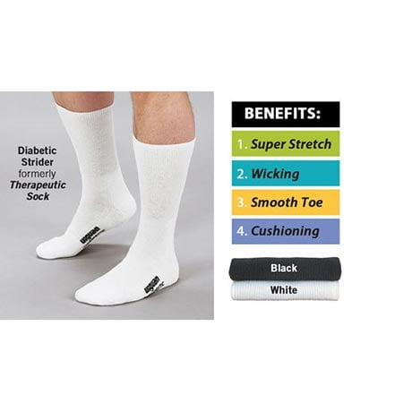 Wigwam® Diabetic Strider Unisex Wide Calf Theraputic Crew Socks