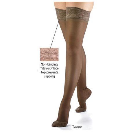 Support Plus® Womens Sheer Closed Toe Firm Compression Thigh High Stockings