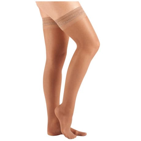 Support Plus® Women's Sheer Closed Toe Mild Compression Thigh High Stockings