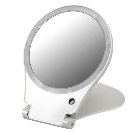 Folding Mirror With Light For Travel - 10X Magnification