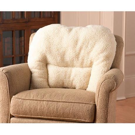 Sacro Saver Lumbar Pillow for Chair with Synthetic Sheepskin