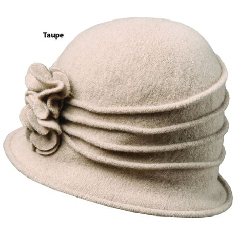 Wool Cloche W/ Floral Applique