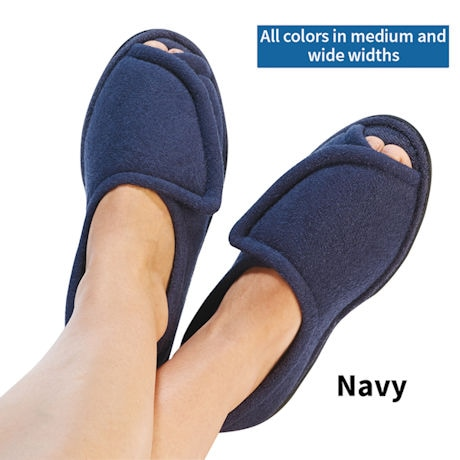 Women's Navy Adjustable Terry Cloth Comfort Slipper - Rubber Sole in Widths