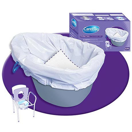 Carebag® Commode Liners 20 Pack With Absorbent Gel Pads