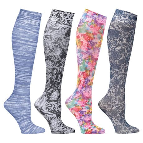 Celeste Stein® Women's Printed Closed Toe Wide Calf Firm Compression Knee High Stockings