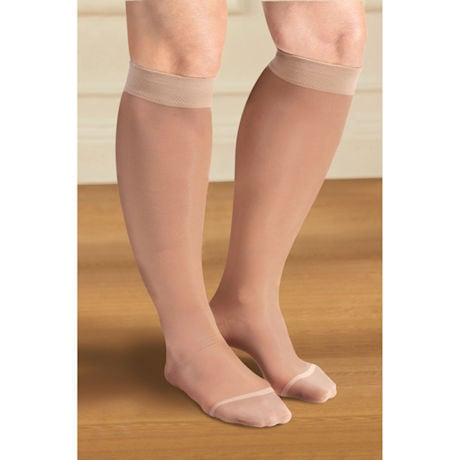 Support Plus® Sheer Firm Compression Wide Calf Knee High Stockings - 20-30 mm/Hg