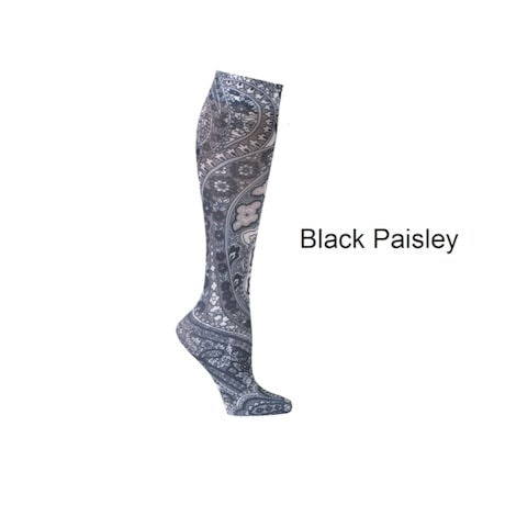 Celeste Stein® Womens Printed Closed Toe Wide Calf Moderate Compression Knee High Stockings