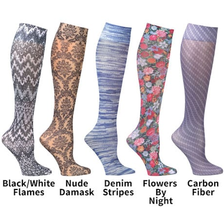 Printed Mild Compression Wide Calf Knee High Stockings - Women's