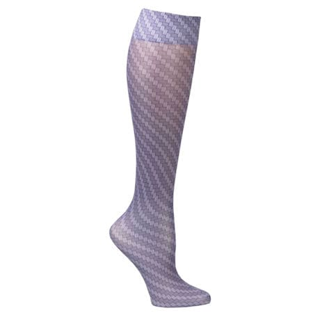 Printed Mild Compression Knee Highs Wide Calf - Carbon Fiber