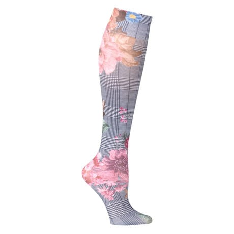 Printed Mild Compression Knee Highs - Plaid Floral