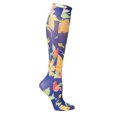 Printed Mild Compression Knee Highs  - Navy Floral