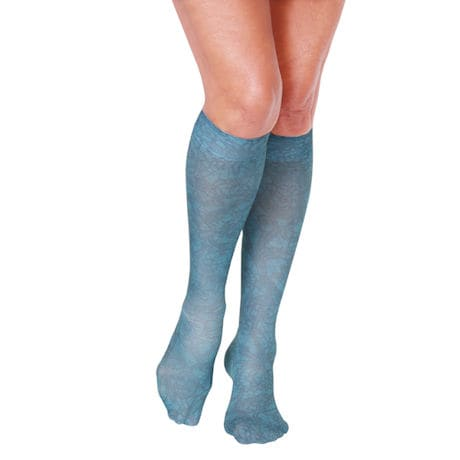Celeste Stein® Women's Printed Closed Toe Wide Calf Mild Compression Knee High Stockings