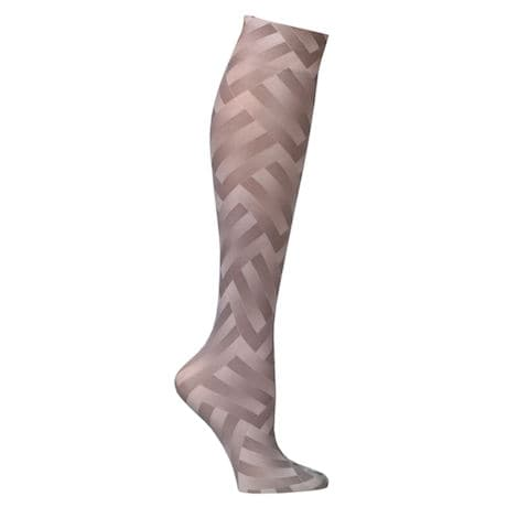 Printed Moderate Compression Knee Highs - Taupe Zig Zag