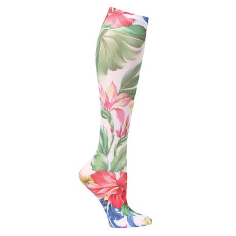 Wide Calf Printed Moderate Compression Knee Highs - White Hawaiian