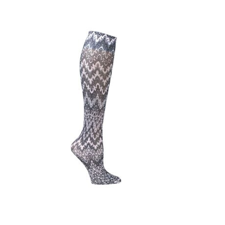 Printed Mild Compression Knee Highs - Black White Flames