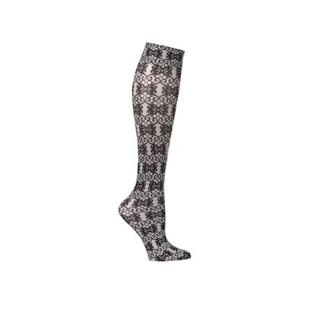 Celeste Stein® Womens Printed Closed Toe Mild Compression Knee High Stockings - French Quarter Grey Scroll