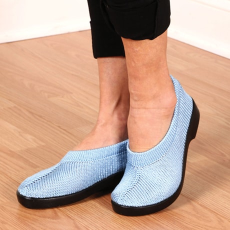 Spring Step® Tender Stretch Knit Slip On Shoes - Light Blue