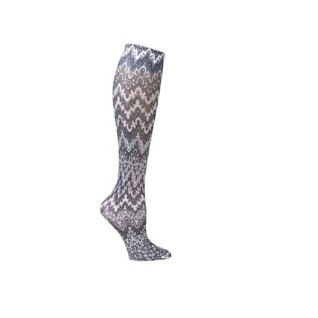 Printed Mild Compression Knee Highs Wide Calf - Black White Flames