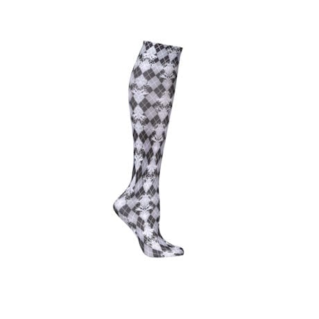 Printed Mild Compression Knee Highs Wide Calf - Damask Harlequin