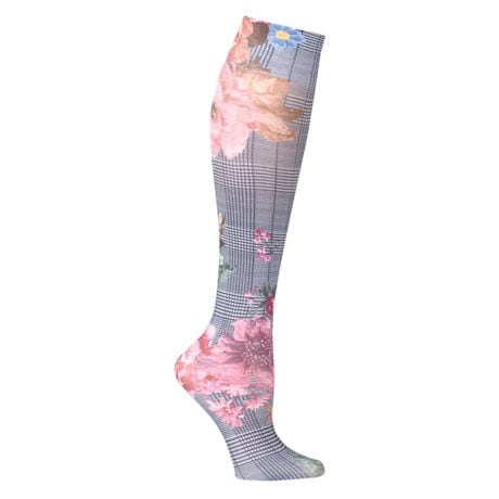Printed Moderate Compression Knee Highs - Plaid Floral