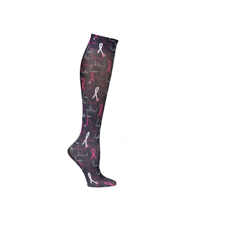 Celeste Stein® Women's Printed Closed Toe Moderate Compression Knee High Stockings - Inspirational Breast Cancer