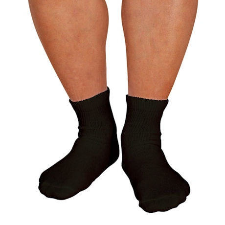 Men's Wide Calf Diabetic Quarter Crew Socks - 3 Pack