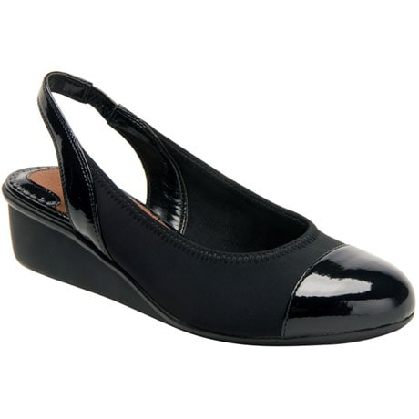 Ros Hommerson® Emma Stretchy Sling-Back Wedge - Black