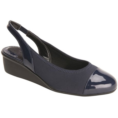 Ros Hommerson® Emma Stretchy Sling-Back Wedge - Navy