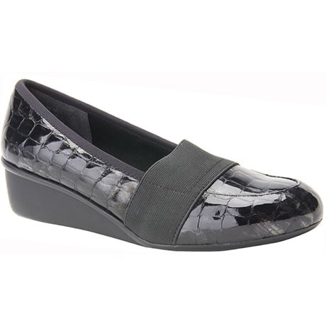 Ros Hommerson® Erica Slip-On - Black Croc Patent Leather