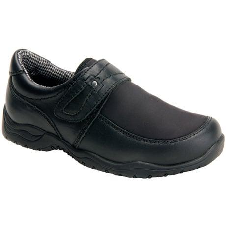 Drew®  Antwerp Women's Slip-On Shoes-Black Leather/Black Stretch