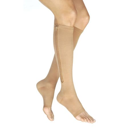 Jobst® Vairox Women's Opaque Open Toe Very Firm Compression Knee High Stockings With Zipper- Long