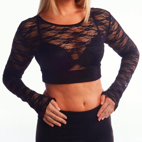 Black Lace Long Sleeve Half Cami