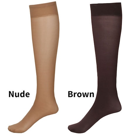 Mild Compression 2 Pair Knee Highs - Wide Calf