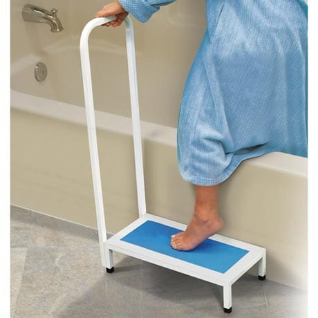 Bath and Shower Step Stool with Handle - Supports up to 500 lbs.