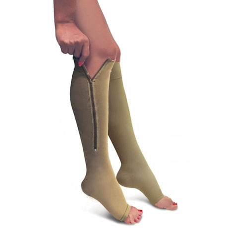 Firm Support Zippered Open Toe Knee High Socks