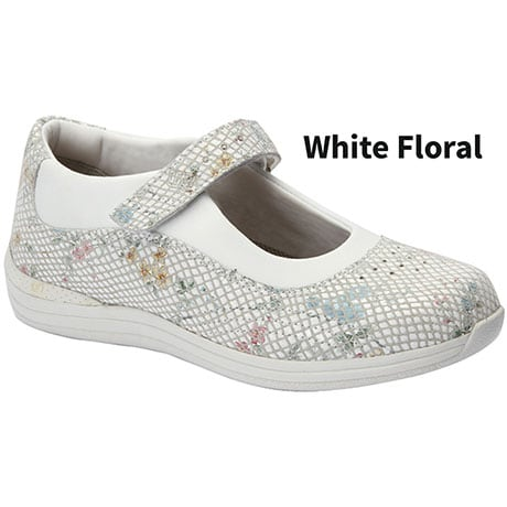 Drew® Rose White Floral Mary Jane
