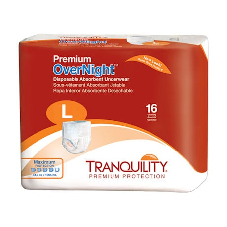 Tranquility® Disposable Overnight Briefs for Incontinence Heavy Duty