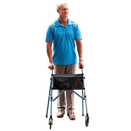 Fold N Go Compact Walker Adjustable 32' to 38' in Blue with Replacement Ski Glides