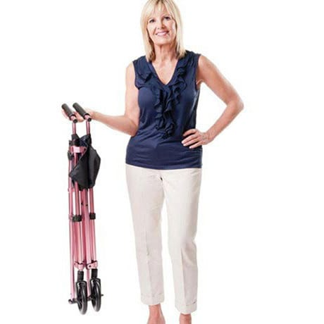 "Fold N Go Compact Walker Adjustable 32"" to 38"" in Rose with Replacement Ski Glides"